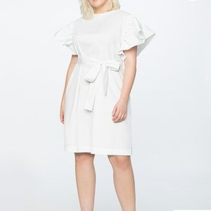 White Belted Dress with Dramatic Sleeves